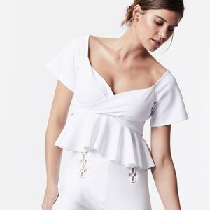 Carbon38  White Off the Shoulder Ruffle Top